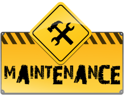 "Cartello giallo con ""Maintenance"""