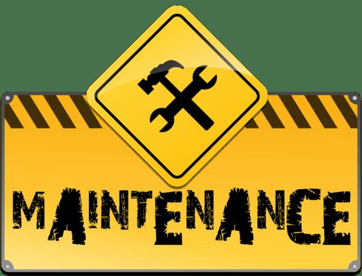 """Cartello giallo con """"Maintenance"""""""