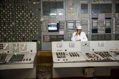 Una sala di controllo della Area Due del reattore di Chernobyl