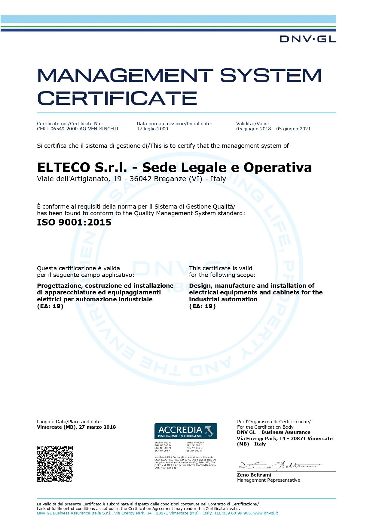 Certificato UNI ISO 9001:2015 di Elteco